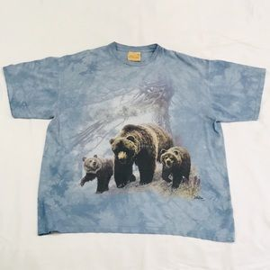 Vintage Tie Dye Forest Brown Bear & Cubs T-Shirt